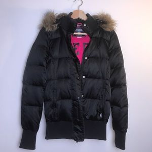 LIVE PINK Black Puffer Jacket with Hoodie